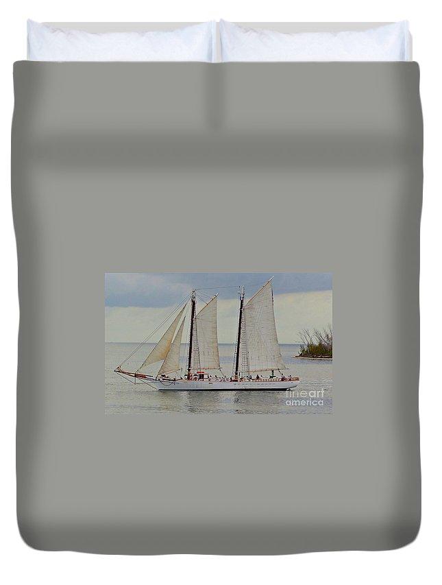 Sailboat Duvet Cover featuring the photograph Sailing The Keys by Jennifer Boisvert