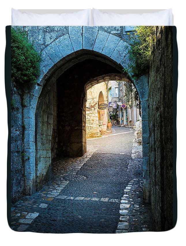 Alpes-maritimes Duvet Cover featuring the photograph Saint Paul Entrance by Inge Johnsson