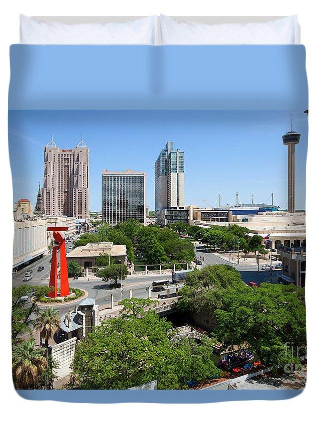 San Antonio Duvet Cover featuring the photograph San Antonio Texas Skyline by Bill Cobb
