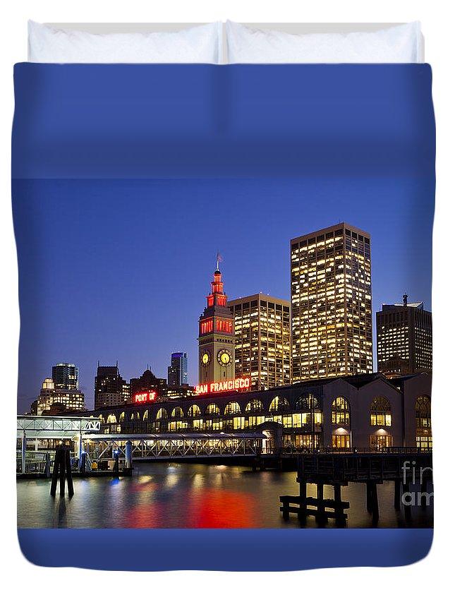 San Francisco Duvet Cover featuring the photograph San Francisco Ferry Terminal - California, Usa by B Christopher