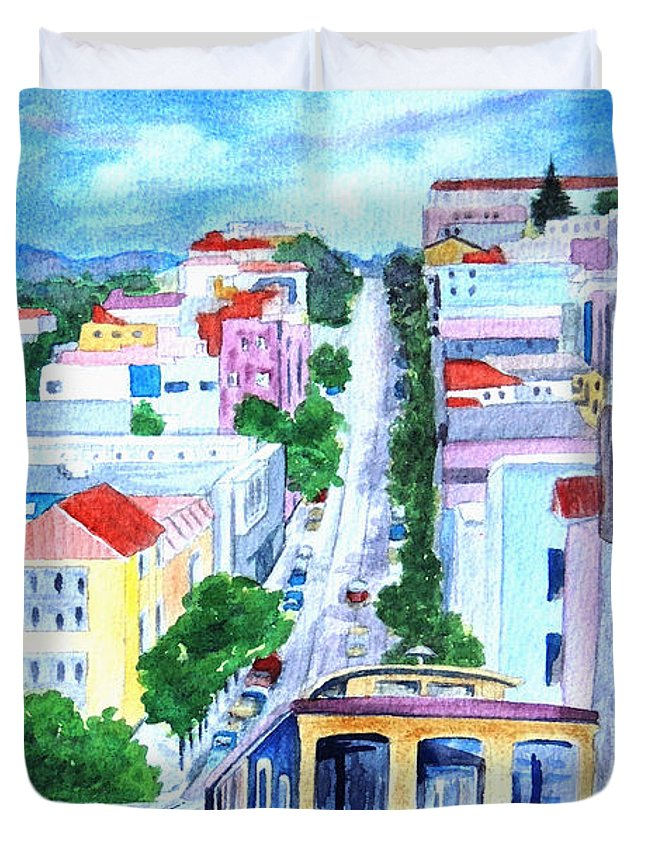 Street Car Duvet Cover featuring the painting San Francisco Tradition by Ruth Bodycott