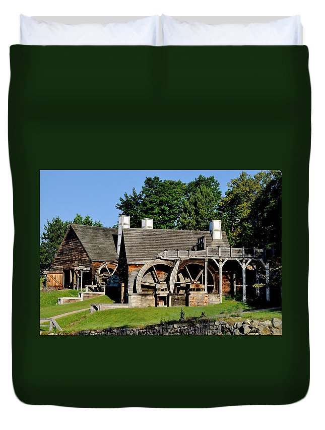 Essex Safari Duvet Cover featuring the photograph Scenic Iron Works by Caroline Stella