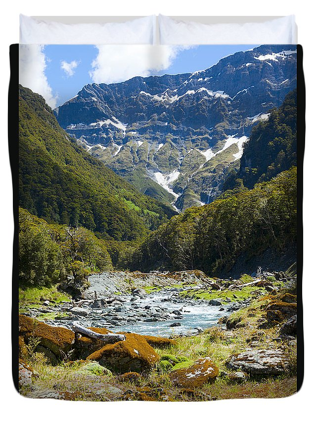 Valley Duvet Cover featuring the photograph Scenic Valley In New Zealand by Alexey Stiop