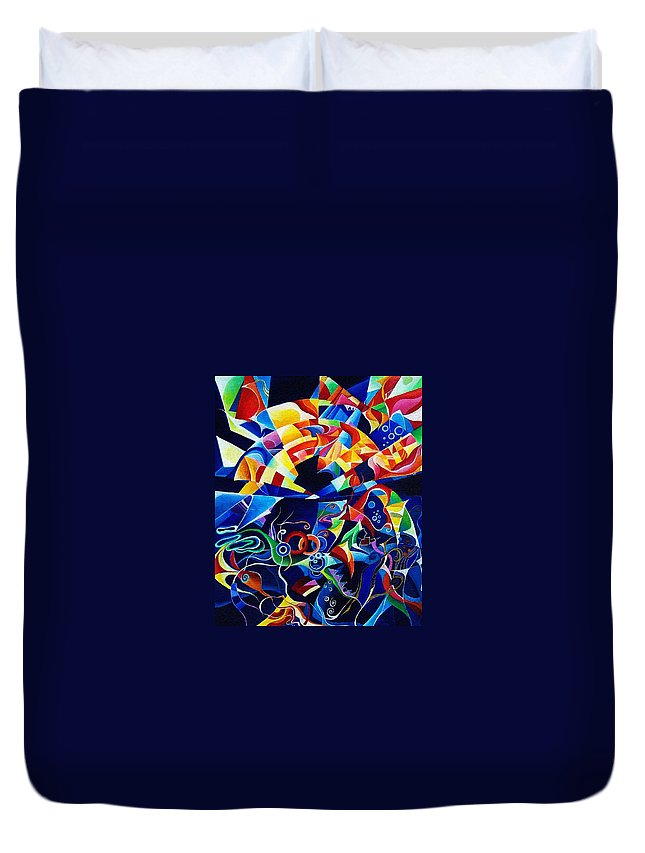 Alexander Scriabin Piano Sonata No.10 Acrylic Abstract Music Duvet Cover featuring the painting Scriabin by Wolfgang Schweizer