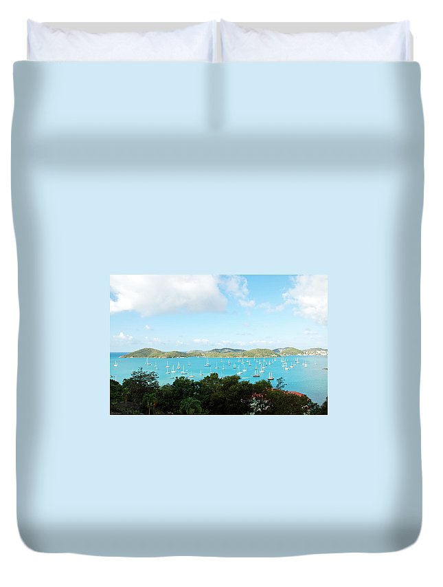 St Thomas Duvet Cover featuring the photograph Sea Of Sailboats by Aimee L Maher ALM GALLERY