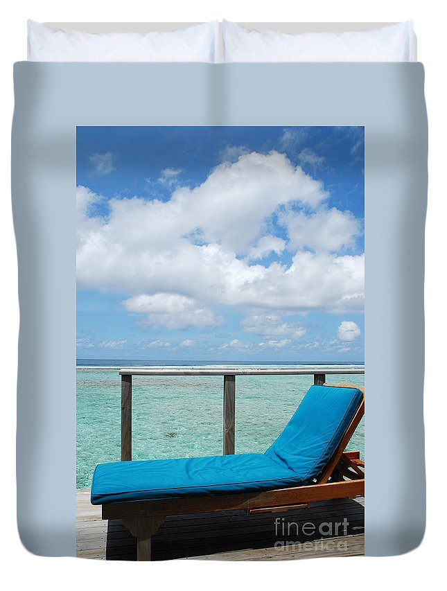 Maldives Duvet Cover featuring the photograph Seascape And Clouscape From Water Villa In Maldives by Luis Alvarenga
