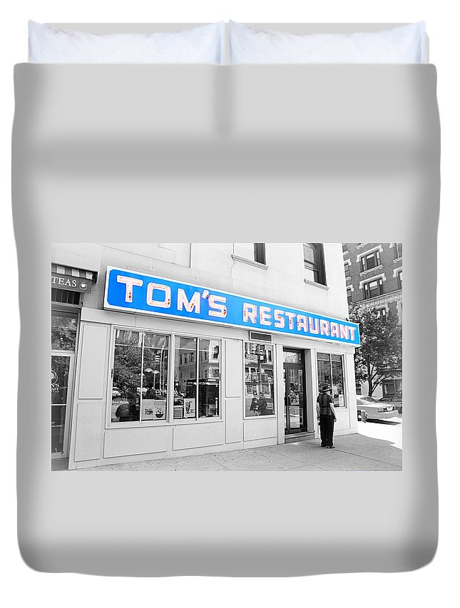 Seinfeld Duvet Cover featuring the photograph Seinfeld Diner Location by Valentino Visentini