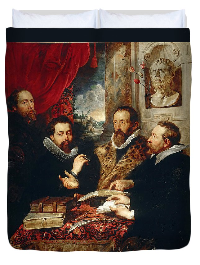 Peter Paul Rubens Duvet Cover featuring the painting Selfportrait With Brother Philipp Justus Lipsius And Another Scholar by Peter Paul Rubens