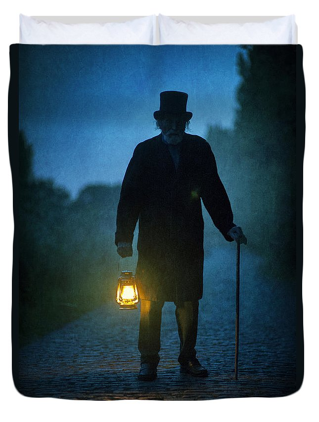 Victorian Duvet Cover featuring the photograph Senior Victorian Man With Lantern by Lee Avison