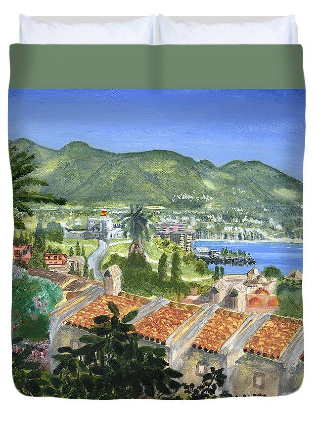 Coast Duvet Cover featuring the painting Serene Coast by Vaidya Selvan