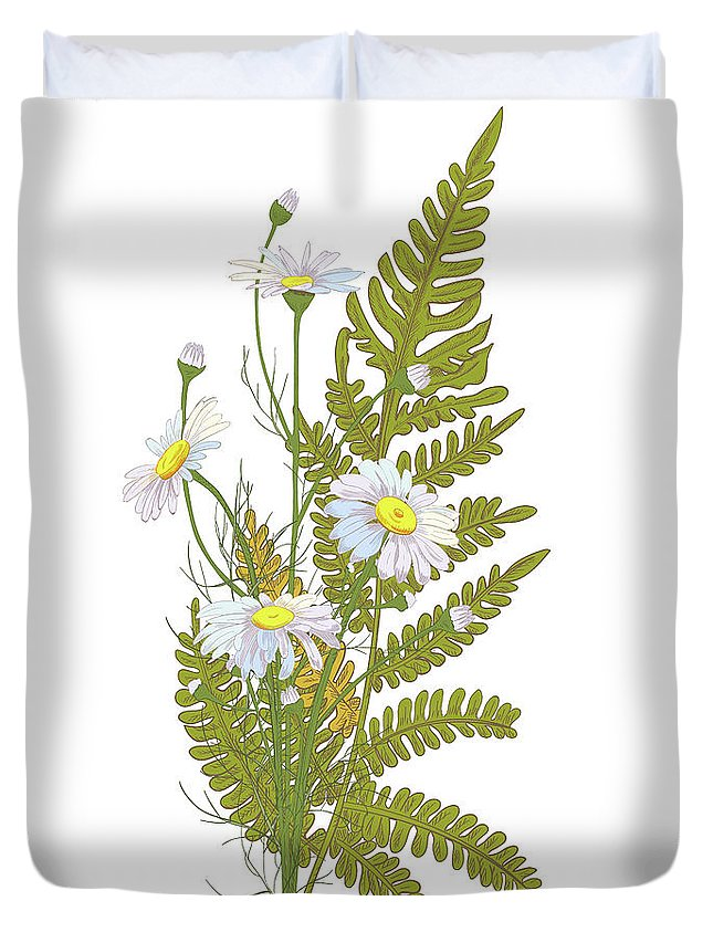 Flowerbed Duvet Cover featuring the digital art Set Of Chamomile Daisy Bouquets White by Olga Ivanova