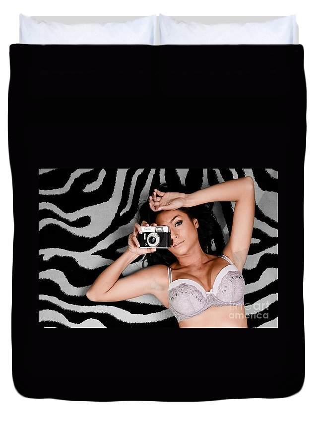 Skincare Duvet Cover featuring the photograph Sexy Photographer by Jt PhotoDesign