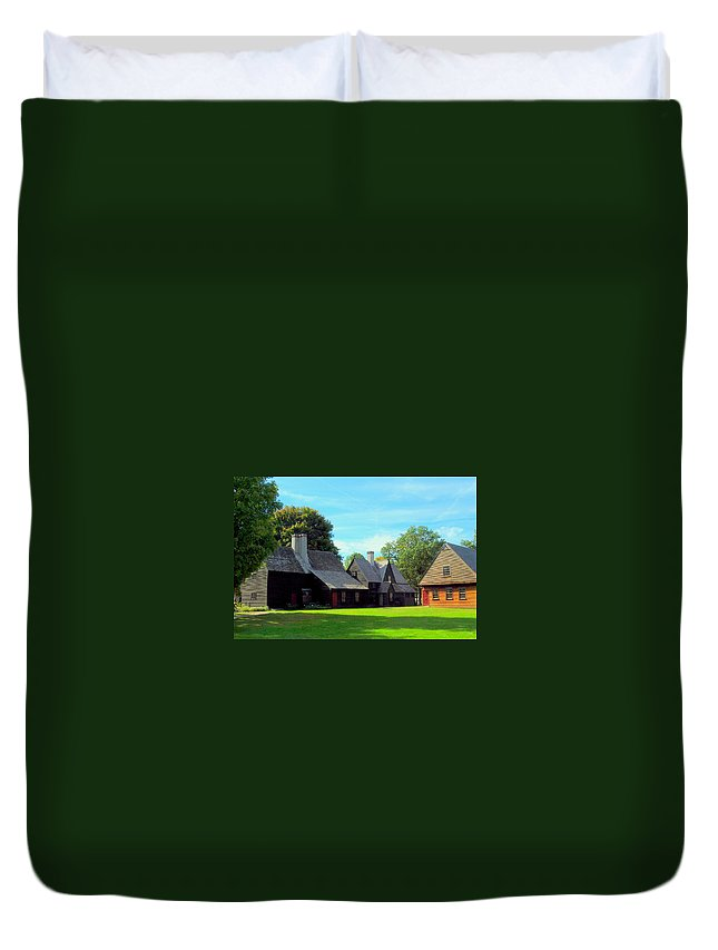 New England Duvet Cover featuring the photograph Shadows And Light by Caroline Stella