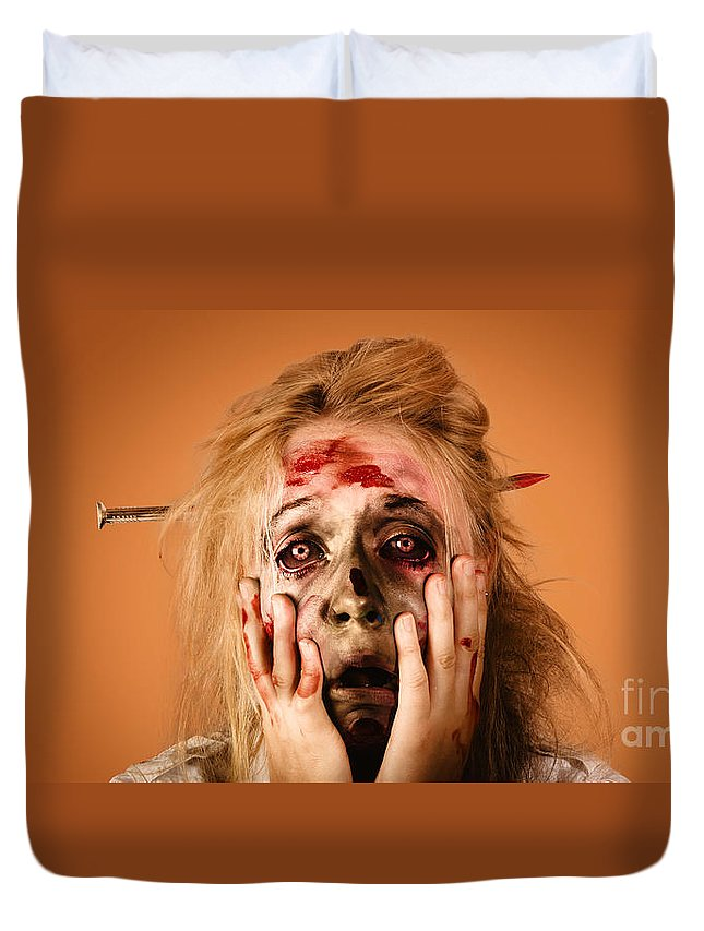 Halloween Duvet Cover featuring the photograph Shocked Horror Halloween Zombie With Hands Face by Jorgo Photography - Wall Art Gallery