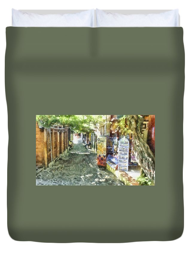 Accessories Duvet Cover featuring the photograph Shopping Street by Roy Pedersen