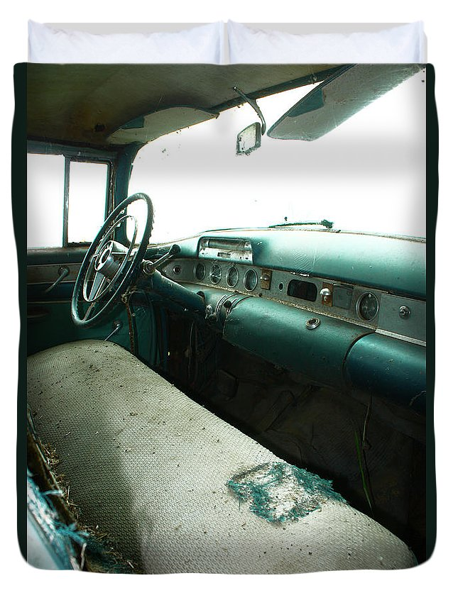 Old Car Duvet Cover featuring the photograph Shotgun by The Artist Project