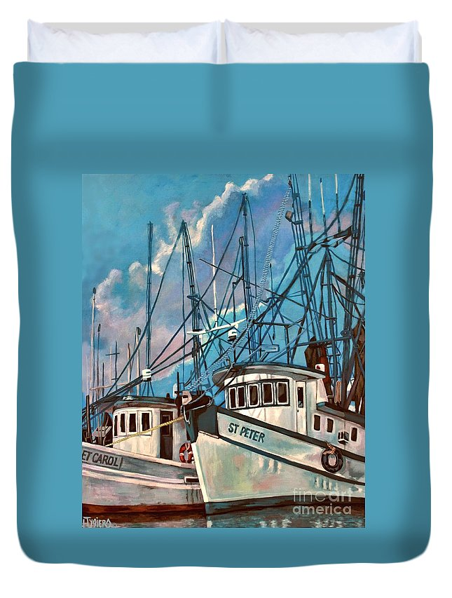Acrylic Duvet Cover featuring the painting Shrimpboats by Lisa Tygier Diamond