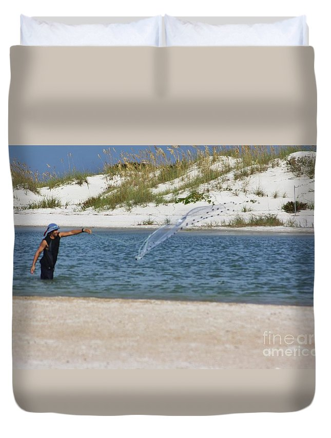 Shrimping Duvet Cover featuring the photograph Shrimping by Chuck Hicks