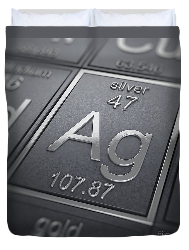 Silver Duvet Cover featuring the photograph Silver Chemical Element by Science Picture Co