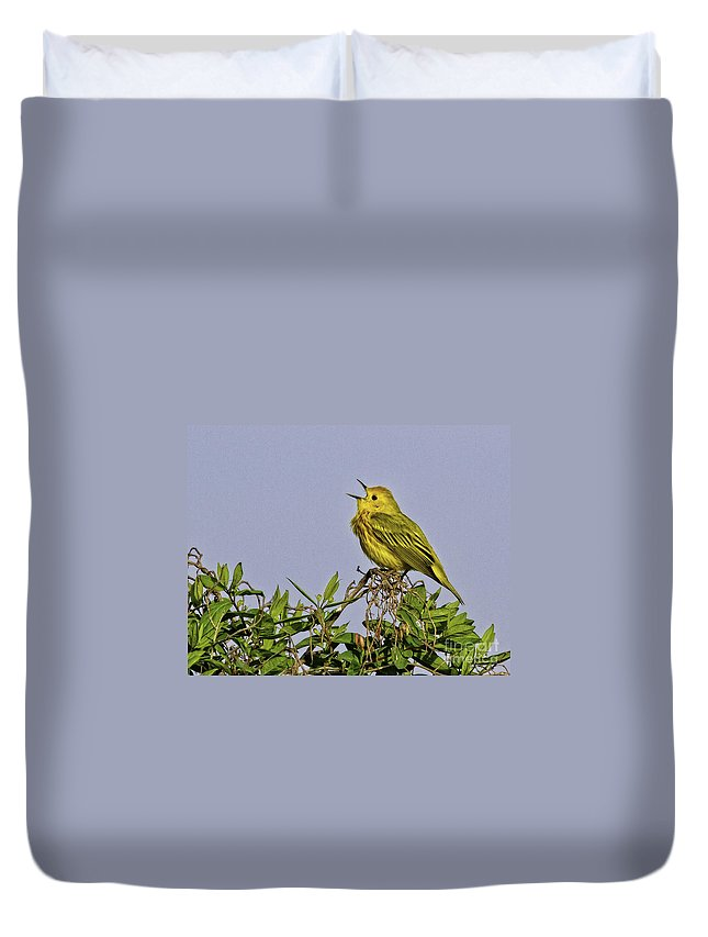 Songbird Duvet Cover featuring the photograph Singing by Jan Killian