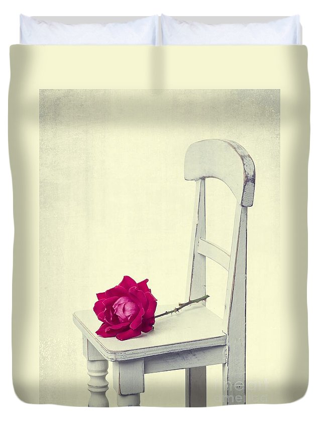 Rose Duvet Cover featuring the photograph Single Red Rose by Edward Fielding