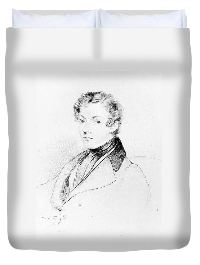 1837 Duvet Cover featuring the drawing Sir Charles Wheatstone (1802-1875) by Granger