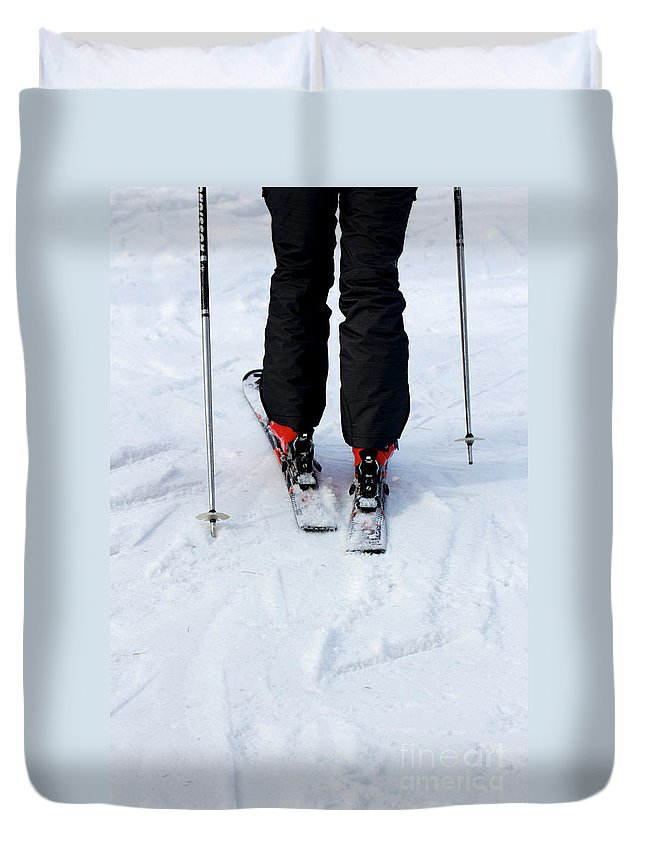 Black Duvet Cover featuring the photograph Skier by Jannis Werner