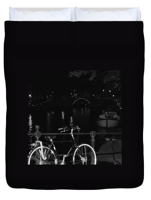 Amsterdam Duvet Cover featuring the photograph Skinny Bridge by Cheryl Miller