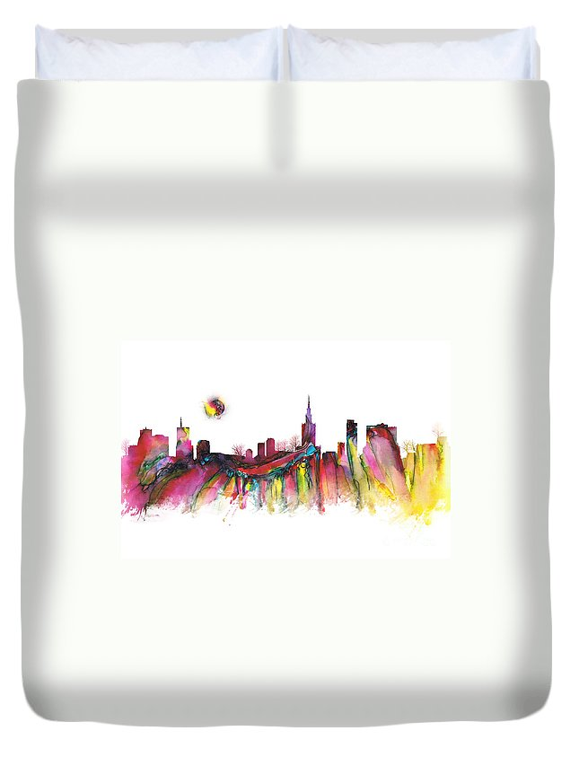 Skyline Duvet Cover featuring the digital art Skyline Warsaw by Justyna JBJart