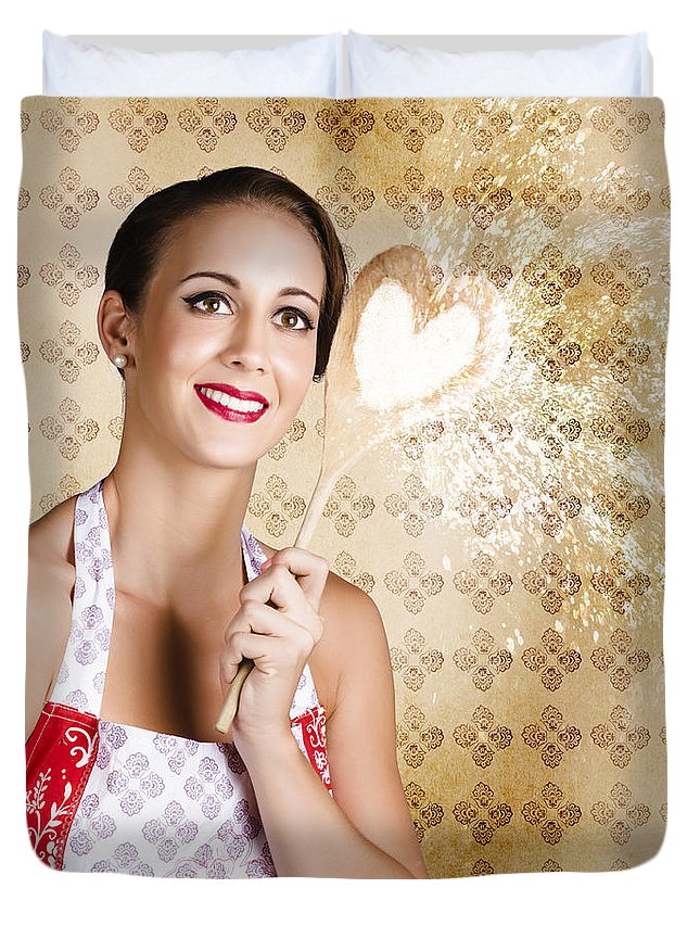 Background Duvet Cover featuring the photograph Smiling Female Cook Baking Cake With Sweet Love by Jorgo Photography - Wall Art Gallery