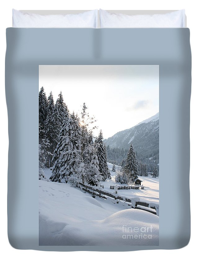 Snow Duvet Cover featuring the photograph Snowy Trees by Christiane Schulze Art And Photography