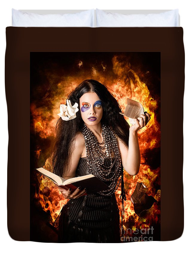 Magic Duvet Cover featuring the photograph Sorcerer Casting Black Magic Spells Of Fire by Jorgo Photography - Wall Art Gallery