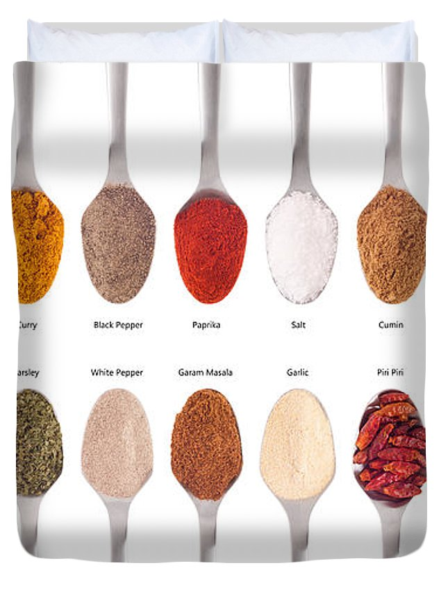 Spices Duvet Cover featuring the photograph Spices Collection On Spoons by Luis Alvarenga