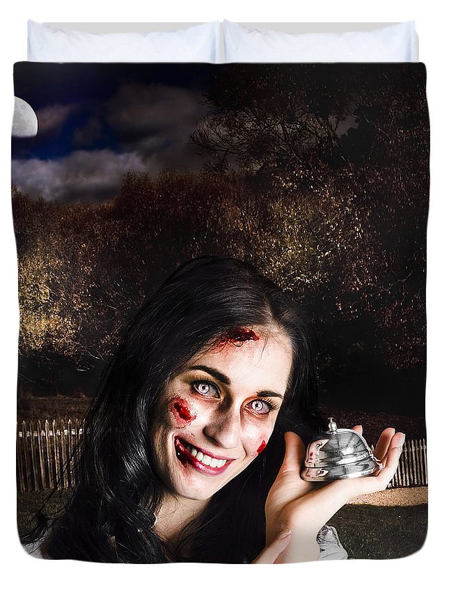 Apocalypse Duvet Cover featuring the photograph Spooky Girl With Silver Service Bell In Graveyard by Jorgo Photography - Wall Art Gallery