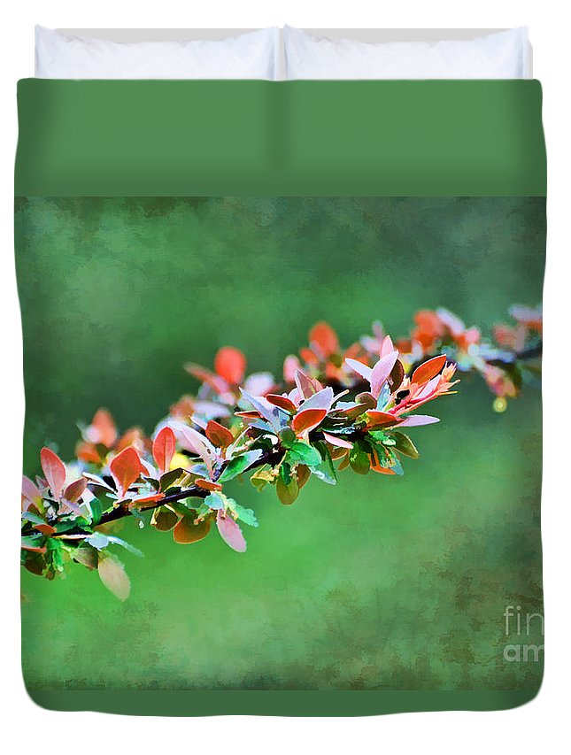 Nature Duvet Cover featuring the photograph Spring Raindrops On Leaves - Digital Paint by Debbie Portwood
