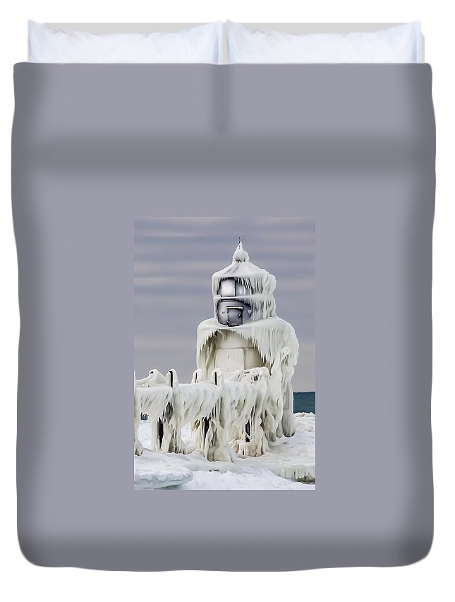 St. Joseph Duvet Cover featuring the photograph St. Joseph Pierhead Light by Susan Grube