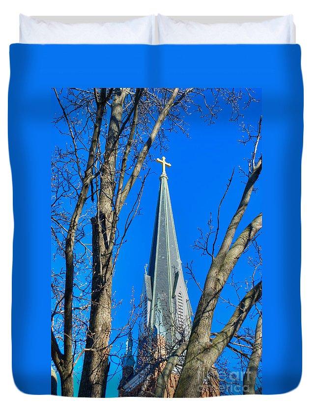 Annapolis Duvet Cover featuring the photograph St. Marys Church Steeple Of St Marys Church by Mark Dodd