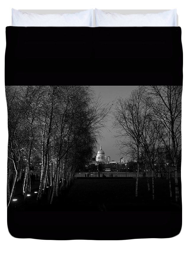 St Paul's Duvet Cover featuring the photograph St Paul's With Silver Birches by Gary Eason