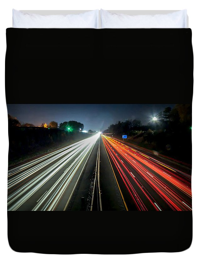 Blurred Duvet Cover featuring the photograph Standing In Car On Side Of The Road At Night In The City by Alex Grichenko