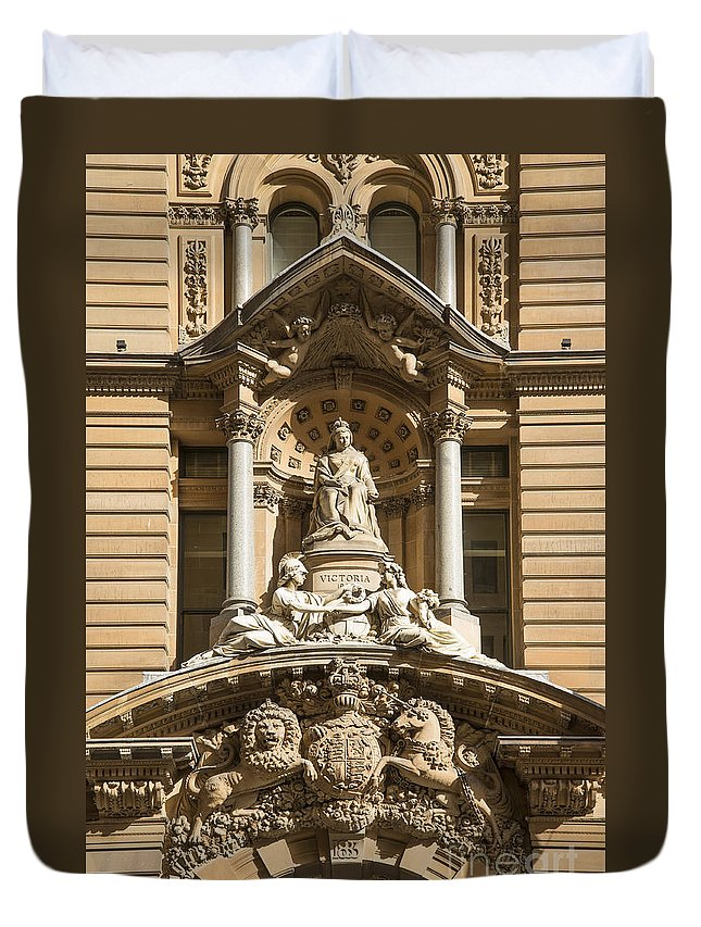Architectural Duvet Cover featuring the photograph Statue Of Queen Victoria At Town Hall Of Sydney Australia by Jacek Malipan