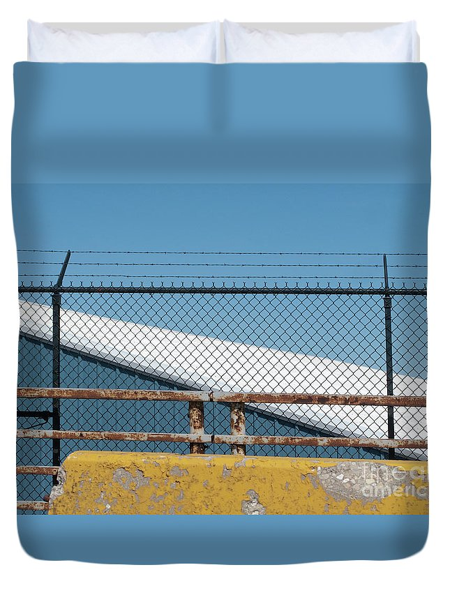 Fence Duvet Cover featuring the photograph Stay Out by Ann Horn