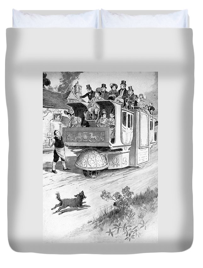1832 Duvet Cover featuring the drawing Steam Carriage, 1832 by Granger