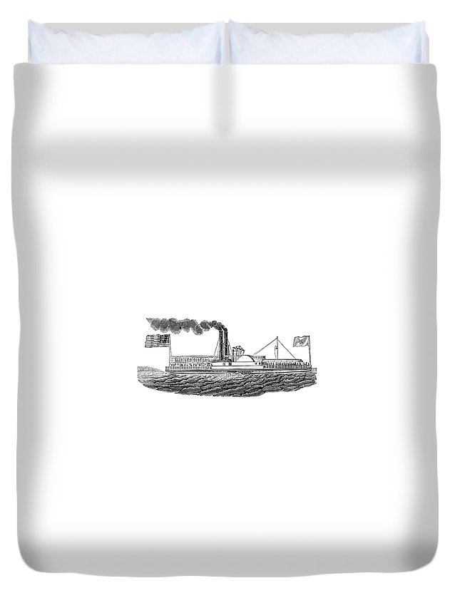 19th Century Duvet Cover featuring the painting Steamboat, 19th Century by Granger