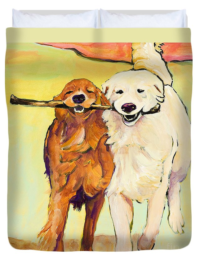 Pat Saunders-white Duvet Cover featuring the painting Stick With Me by Pat Saunders-White