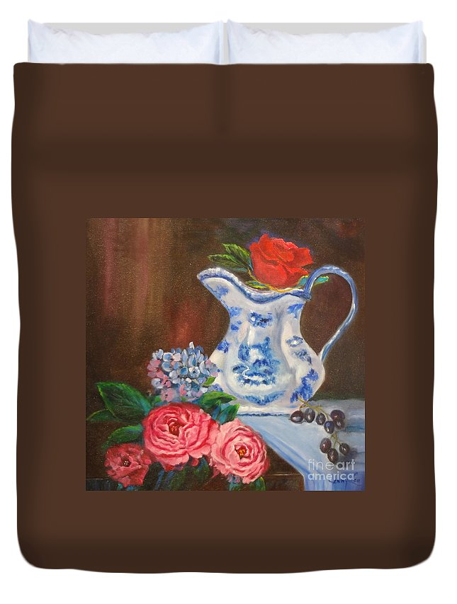 Pitcher Duvet Cover featuring the painting Rose And Pitcher Jenny Lee Discount by Jenny Lee