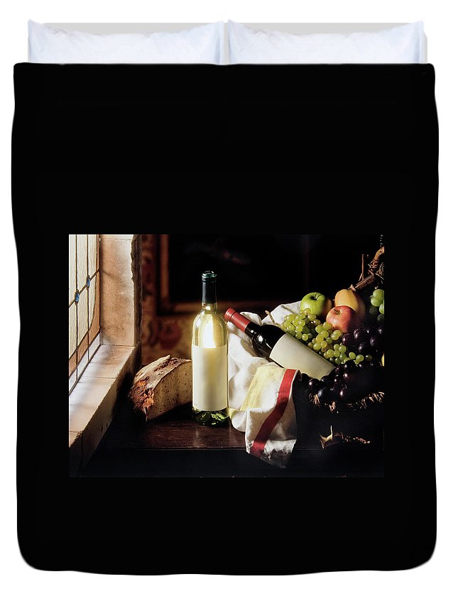 Golden Delicious Apple Duvet Cover featuring the photograph Still Life With Two Wine Bottles by C-vino