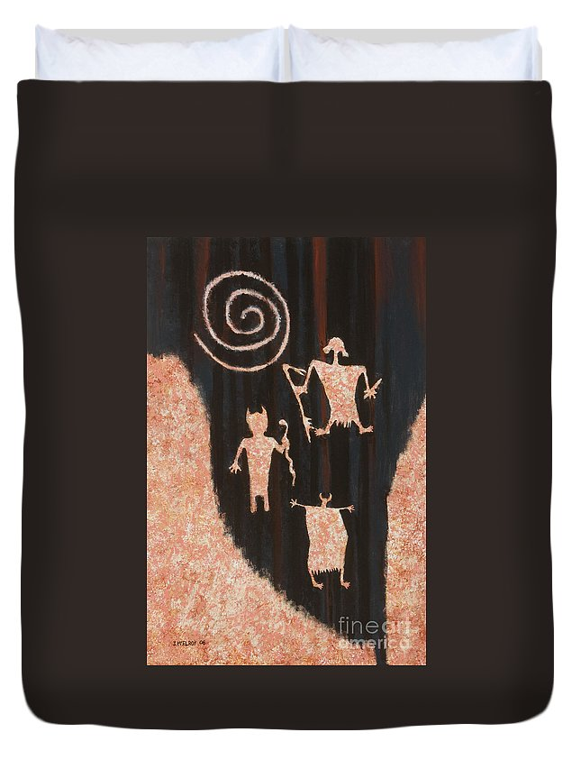 Rock Duvet Cover featuring the painting Stories In Stone by Jerry McElroy