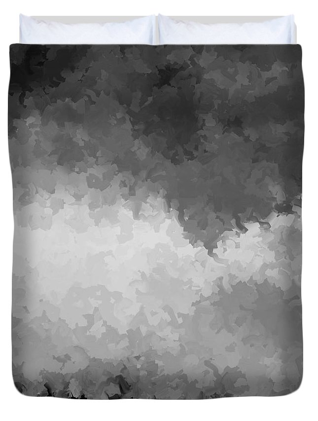 Digital Black And White Painting Duvet Cover featuring the digital art Storm Clouds Over A Cornfield Bw by Tim Richards