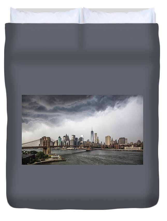 Manhattan Duvet Cover featuring the photograph Storm Over Manhattan Downtown by Alex Potemkin