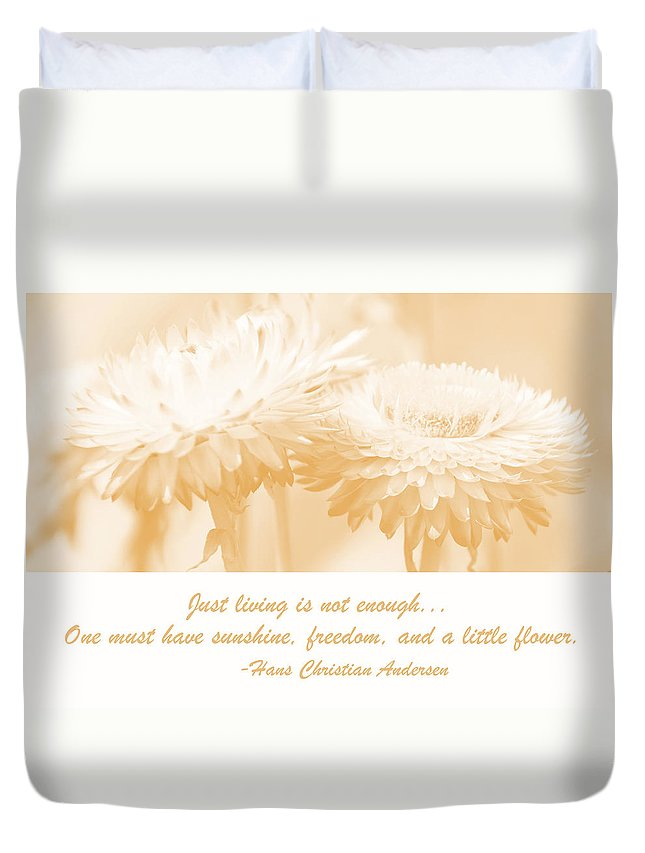 Environment Duvet Cover featuring the digital art Strawflowers by A Gurmankin